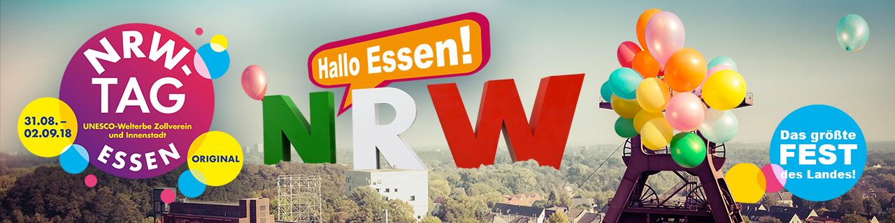 Logo des NRW-Tags mit der Stadt Essen im Hintergrund und großen NRW-Buchstaben im Vordergrund