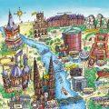 Das Bild zeigt ein gemaltes Panorama von Nordrhein-Westfalen.