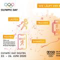Werbeplakat im orange-weißem Design mit teilweiser schwarzer und weißer Schrift. Oben links steht OLYMPIC DAY, darüber die fünf olympischen Ringe.