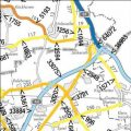 Straßenkarte mit Zahlen zur Angabe der Verkehrsstärke
