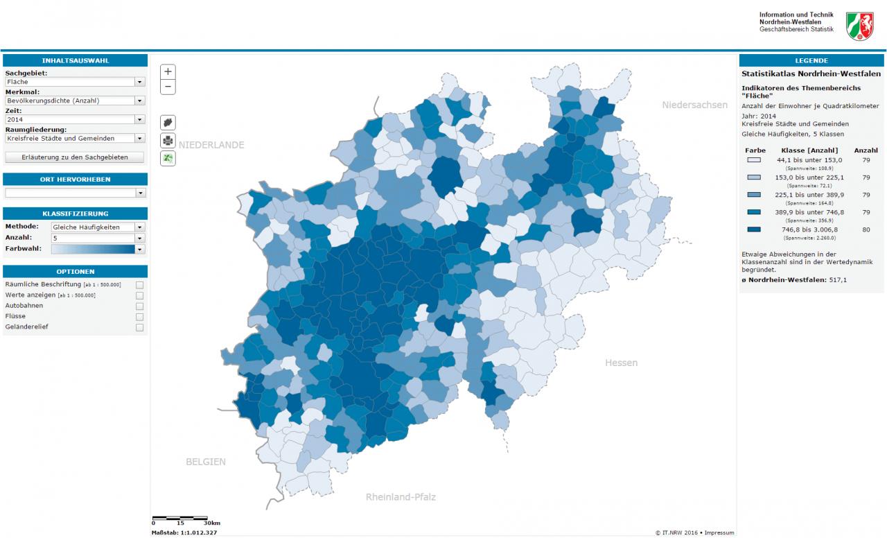 Nordrhein Westfalen Karte.Neuer Statistikatlas Nrw Online Verfugbar Das Landesportal