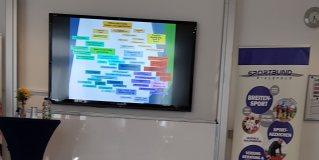 Auf einem großem Bildschirm läuft die Präsentation des Stadtsportbunds Bielefeld e.V.