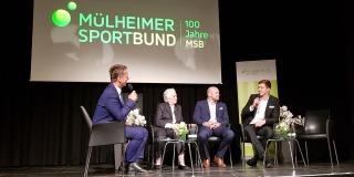 Talkrunde mit Olympioniken aus Mülheim (Gabriela Grillo, ehemalige Dressurreiterin; Thilo Stralkowski, Hockey; Damian Wierling, Schwimmen)