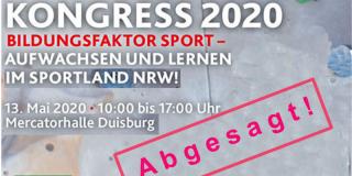 """Werbeplakat für Kongress 2020 mit greuem Hintergrund und bunten Elementen, sowie rechts unten mit einem roten Stempel """"Abgesagt""""."""