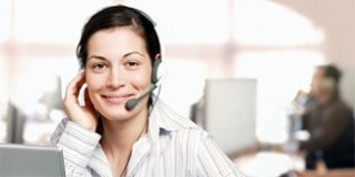 Telefonistin mit Headset