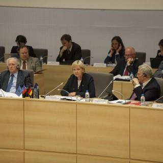 Ministerpräsidentin Kraft hält im Regionalparlament von Nord-Pas de Calais einen Vortrag zur Energiewende.