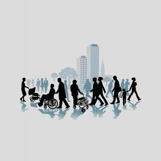 Grafik mit Menschen die durch vor großen Häusern in der Stadt laufen