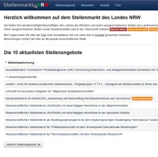 Website Stellenmarkt NRW