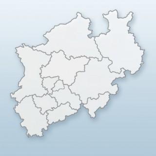 Grafik mit dem Umrissen von Nordrhein-Westfalen