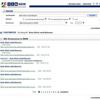 Website Verwaltungssuchmaschine NRW