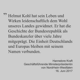 Statement von Hannelore Kraft zum Tod von Helmut Kohl