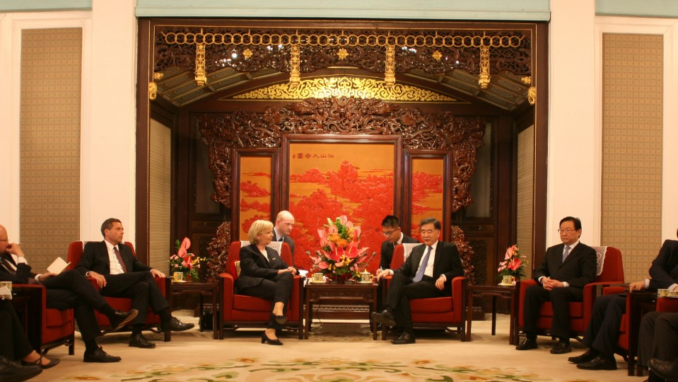 Ministerpräsidentin Hannelore Kraft im Gespräch mit dem Vize-Ministerpräsidenten der Volksrepublik China, WANG Yang