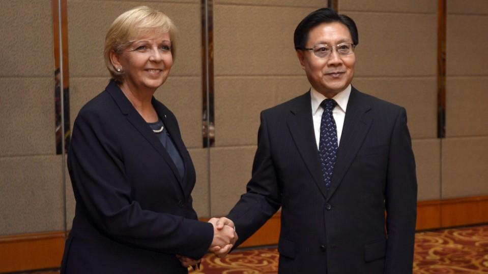 Ministerpräsidentin Hannelore Kraft zu Gast bei Sichuans Parteisekretär Wang Dongming