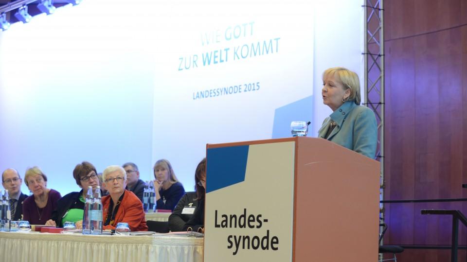 Das Bild zeigt Ministerpräsidentin Kraft bei ihrer Rede.