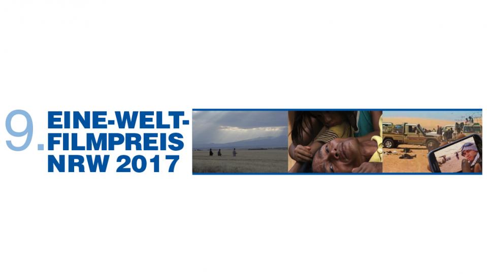 Links - Blau auf Weiß: Eine-Welt-Filmpreis 2017, rechts daneben 3 Fotos aus den preisgekrönten Filmen.