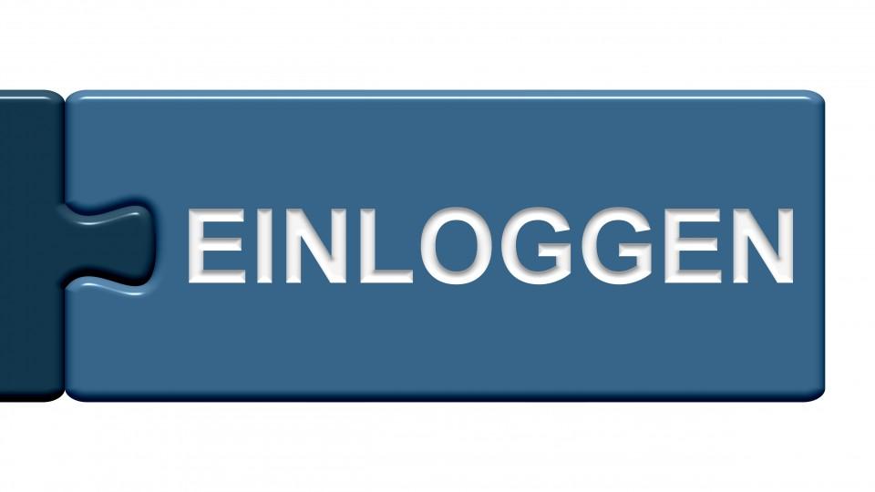 """Das Bild zeigt einen Schriftzug, auf dem """"Einloggen"""" steht."""