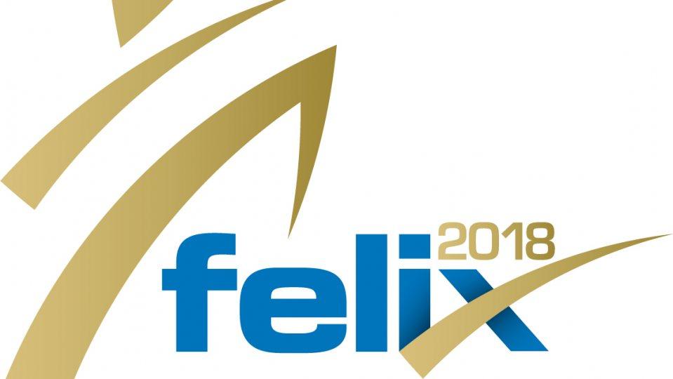 Das felix 2018 Logo in Blau und Gold.