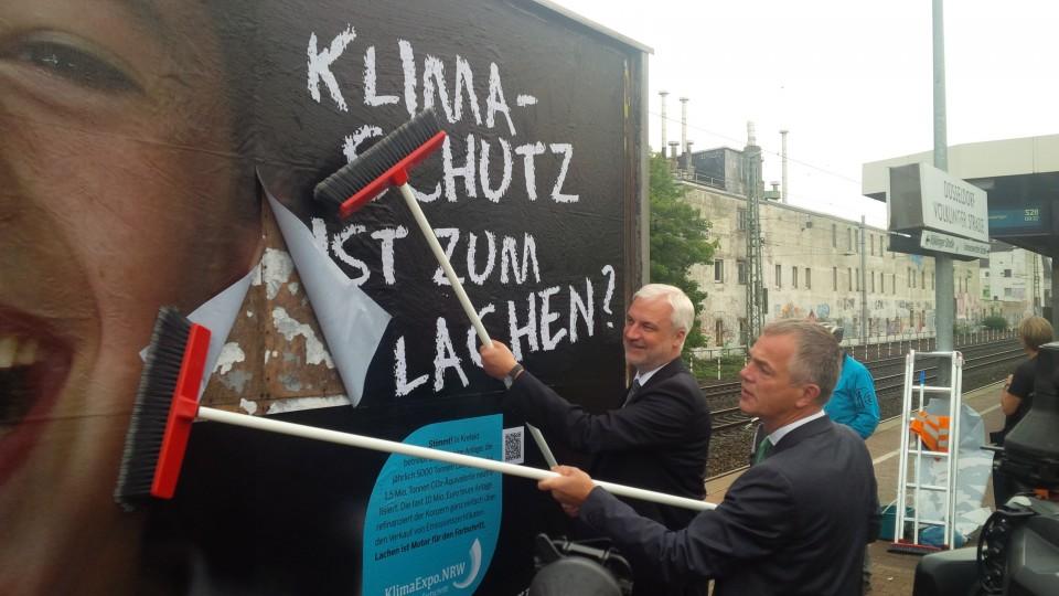 """Umweltminister Remmel und Wirtschaftsminister Duin stellen die Plakatkampagne """"Klimaschutz ist…"""" der KlimaExpo.NRW vor"""