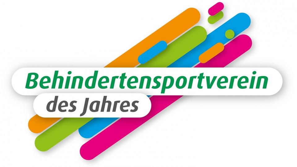 """Logodesign mit 4 diagonalen Farbstreifen (orange, hellgrün, hellblau und lila) nach rechts aufsteigend mit dem Schriftzug """"Behindertensportverein des Jahres""""."""
