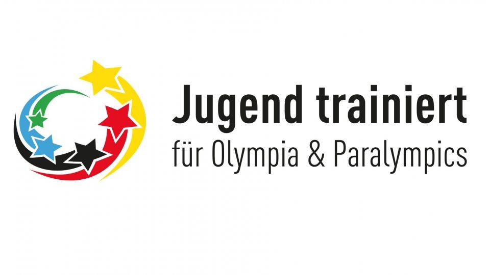 Logo von Jugend trainiert für Olympia und Paraolympics mit gelb-rot-schwarz-blau-grünen, zirkulierenden Sternen.