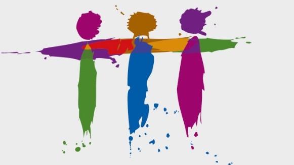 Das Bild zeigt stilisiert drei bunte Strichmännchen, die sich umarmen.