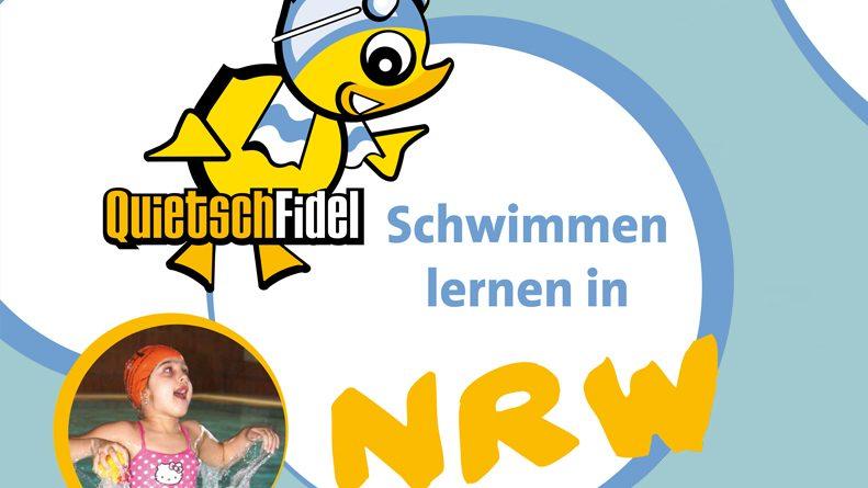 Links oben ein Quietsche-Entchen mit Bademütze und Schwimmbrille, links unten ein Clown im pinkfarbenen Badeanzug im Wasser. Dazu der Text: Quietschfidel Schwimmen lernen in NRW und www.Quietschfidel.de rechts oben.