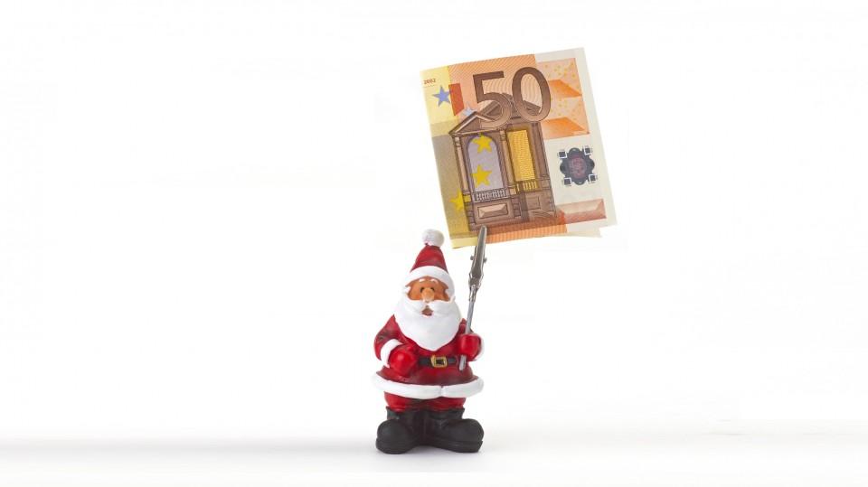 Bild Weihnachtsmann und Geld / Weihnachtsgeld